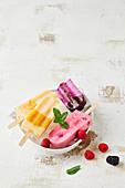 Verschiedene Popsicles (Buttermilcheis, Himbeereis, Brombeereis, Aprikoseneis) in Eisschale