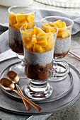 Chocolate dessert with chia and mango