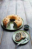 A poppyseed wreath cake, sliced