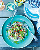 Kingfish ceviche with coconut, avocado and cucumber