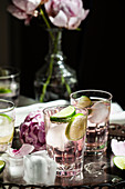 Glasses of gin and tonic with limes