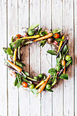 A fruit and vegetable wreath