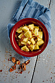 Pineapple salad with pecan nuts