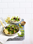 Thai curry with eggplant and sugar snap peas