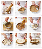 Preparing malted milk and caramel ice-cream pie
