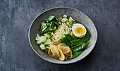 Ramen with yellow radish and bok choy