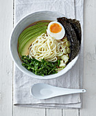 California ramen with kale, avocado and egg