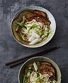 Vegan seitan and radish ramen
