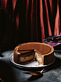 Chocolate, caramel and malt cheesecake