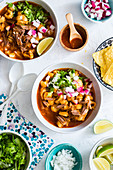 Pozole rojo (stew with corn and pork goulash, Mexico)