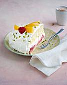 Peach melba yoghurt cake