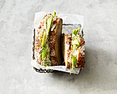 Vegan avocado sandwich with beansprouts