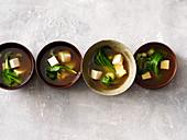 Vegan miso soup with diced tofu