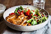 Salad with chicken escalope