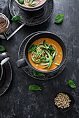 Creamy tomato soup with zoodles