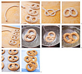 Pretzels being made