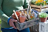 Frau trägt Holzkiste mit Utensilien für Aussaat und pflanzen