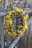 Kranz aus Zweigen von Goldglöckchen und Weide am Zaun
