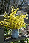 Strauß aus Zweigen vom Goldglöckchen auf Bank im Garten, Drahtkorb mit Ostereiern