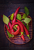 Fresh red chillies with leaves