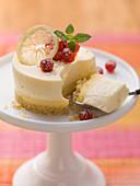 Bavarian cream cake with redcurrants