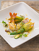 Stuffed courgette flowers with prawns