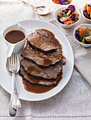 Burgundy roast beef with gravy