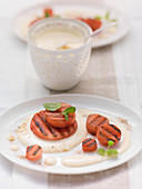 Grilled watermelon with Prosecco sabayon