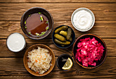 Fermented foods and drinks: kimchi, pickles, sauerkraut, miso soup, kombucha, yogurt, kefir