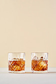 Two whiskey on the rocks