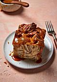Cinnamon bread pudding, slice