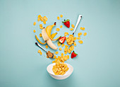 Preparing quick healthy breakfast in the morning - falling ingredients