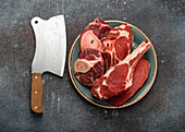 Assorted meat cuts - Beef steak Tomahawk, veal shank and fillet