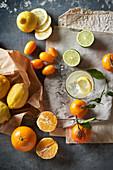 Various citrus fruit - lemon, lime, kumquat, mandarine and orange