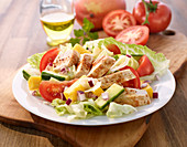 Vegetable salad with chicken and pineapple
