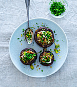 Stuffed mushrooms with herbs and pistachio nuts