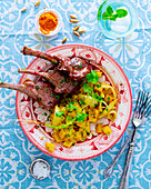 Lamb chops with quince chutney