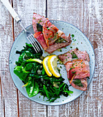 Saltimbocca with a spinach medley