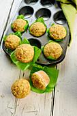 Carrot muffins in a muffin tin