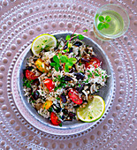Cauliflower tabbouleh with tomatoes and olives