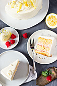 Raspberry and rhubarb cake with lemon cream