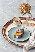 Pumpkin bundt cake with a cup of coffee