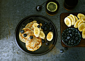 Pancake with blueberries and bananas