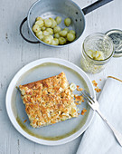 Gooseberry cake topped with florentines