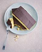 Eggnog tray bake cake with chocolate glaze