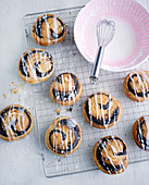 Poppy seed snails with icing on a wire rack