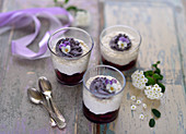 Vegan blueberry, millet and coconut dessert in glasses