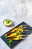 Barbecued baby corn