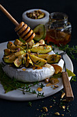 Roast fig brie with honey