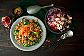 Wholegrain salad with red beets, orange and pomegranate